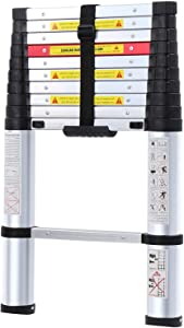 Telescoping Ladder with Safety Blockers & Carry Bag – Foldable Lightweight Aluminum 10.5ft Step Ladder with Finger Protectors & Rubber Non-Slip Pads, Perfect for Professional & Home Projects