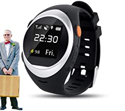 vmree Seniors Global WiFi Tracking System SOS GPS Anti-Fall Alarm Smart Watch Gift for Father and Mother(Silver)