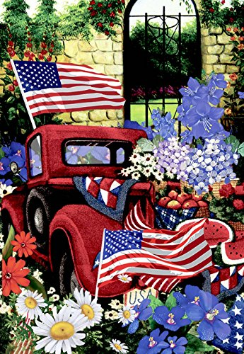 Morigins 4th of July Patriotic Welcome House Flag Double Sided Old Red Truck Yard Flag 28'x40'