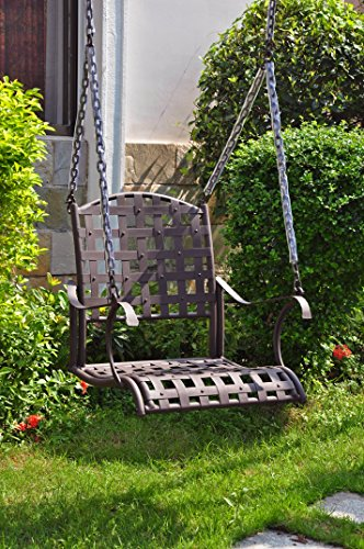 International Caravan 523772-OG-165266-O-852765 Iron Single Patio Swing Chair, Hammered Bronze