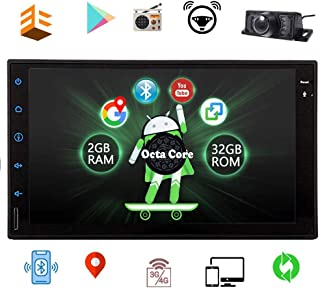 Android 10.0 Octa Core Car Stereo 7 inch Full Touch Screen Bluetooth Head Unit Car Radio GPS Navigation Double 2 Din in-Dash Video Player OBD2 Free Rear Camera Car Logo Wallpaper EQ Setting
