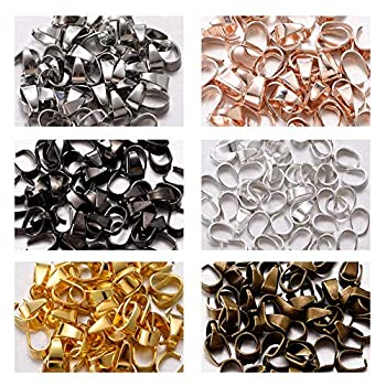 300pcs Mixed Metal Pinch Clip Clasp Bail Finish Necklace Clasps Pendant Clasps Claw Bail,Hook Pendant Connectors Clasps forJewelry DIY Craft Making 6mmx9mm  A573