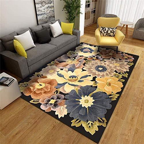 WKITCHENMAT Moderner extra großer Teppich 6 mm Dicke Teppich Boden-Läufer teppiche Schöne Blume, goldgrauer Teppich, fühlt Sich weich an Dauerhafte TeppichBoden Matte 160x280cm
