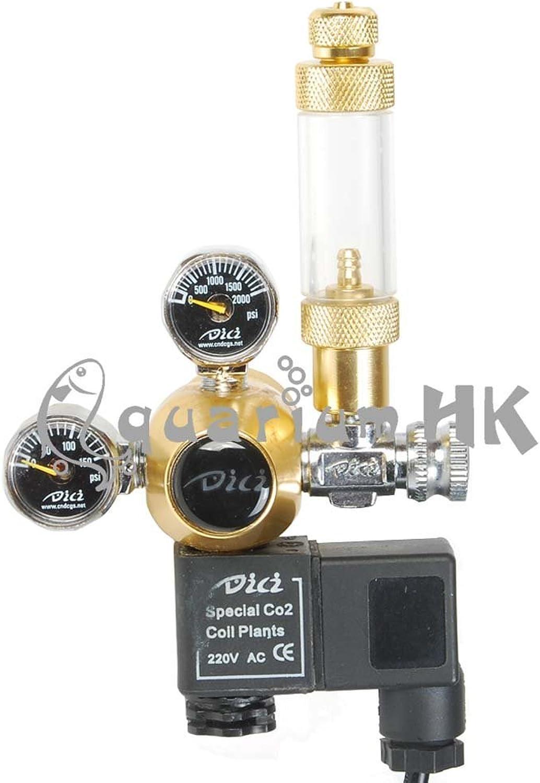 DICI Aquarium Co2 Dual Gauge Solenoid Regulator gold