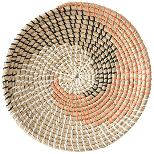 Artera Wicker Wall Basket Decor - Hanging Woven Seagrass Flat Baskets, Round Boho Wall Basket Decor for Living Room or Bedroom, Unique Wall Art. (13' Round, Style 11)