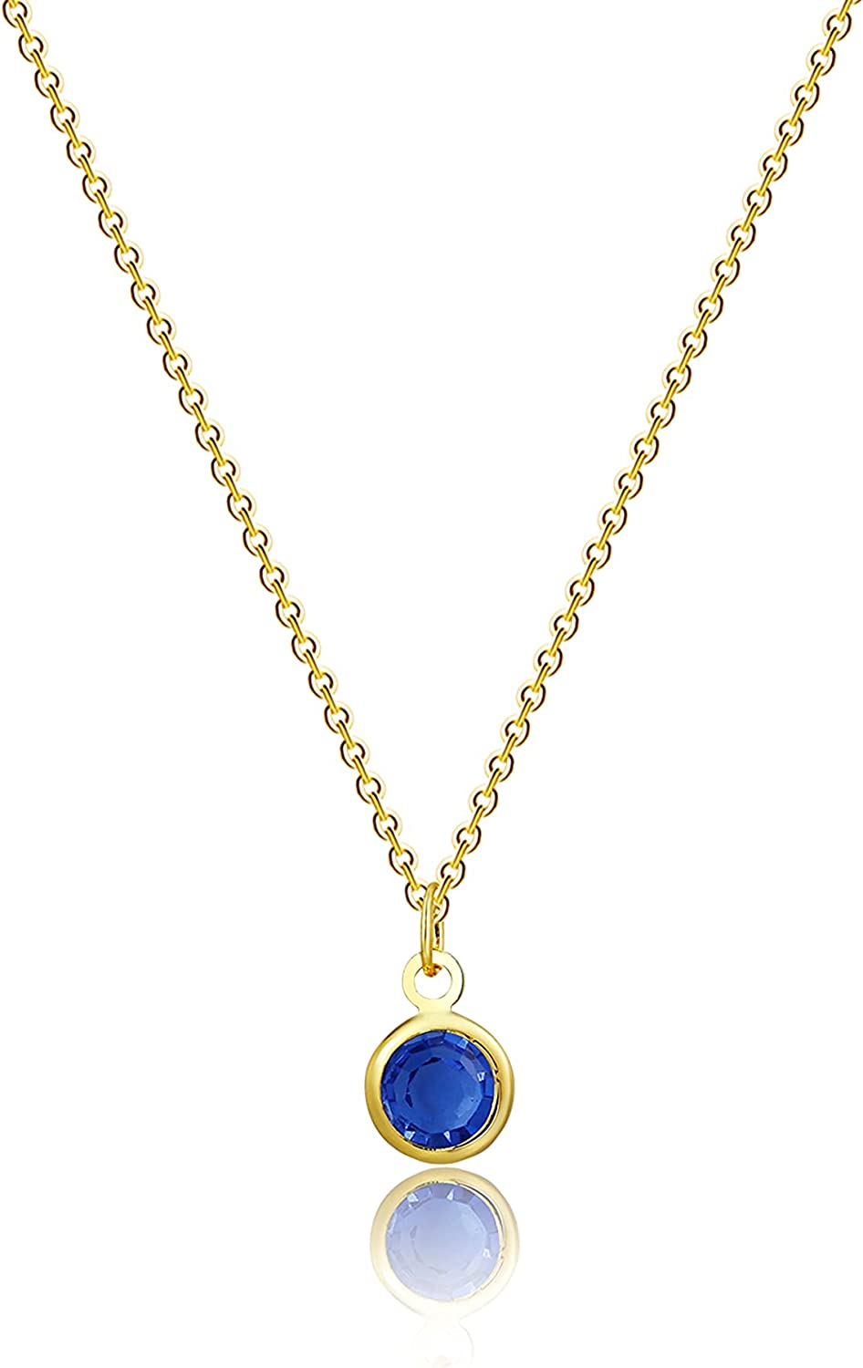 Viromy 18K Gold Plated Dainty Birthstone Pendant Necklace Personalized Minimalist Simulated Diamond Cubic Zirconia Birthstone Charm Everyday Necklaces Simple Birthday Gift Daily Jewelry for Women
