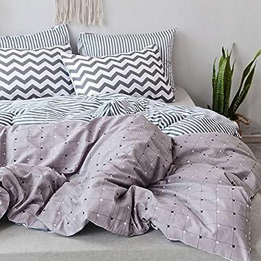 PinkMemory King Duvet Cover Cotton Modern Bedding Set Reversible Geometric Plaid Stripe Duvet Cover Set California King Bedding Set Collection