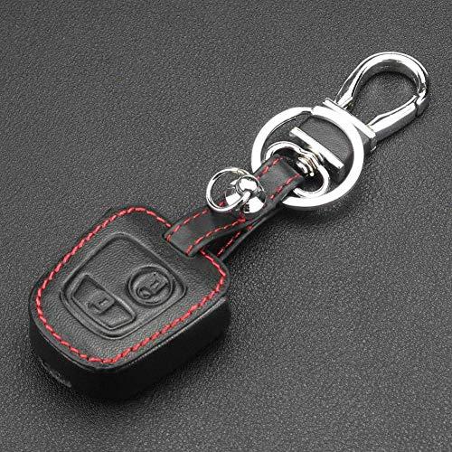 TGHYJU Cubierta De La Llave del Coche Funda De Cuero con 2 Botones para Llave De Coche, para Citroen C4 C5 Berlingo Picasso Xsara Picasso Aygo para Peugeot 206207307408