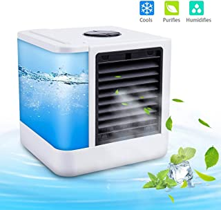 –Climatizador portátil Cool–Refrigerador de aire Humidificador Ventilador con conexión USB o Red Conector Hydro de chill Tecnología 3niveles de refrigeración 7ánimo luces, Blanco