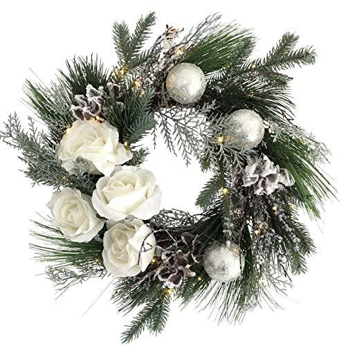 OF Türkranz, Weihnachtskranz mit 50 warmweißen LED Lichterkette und Timer - Batteriebetrieben - Adventskranz (Weiße Rosen)