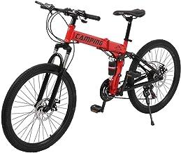 "Folding Bike - 26"" Mountain Bike 21 Speed Wheel Disc Brake Full Suspension Anti-Slip MTB"