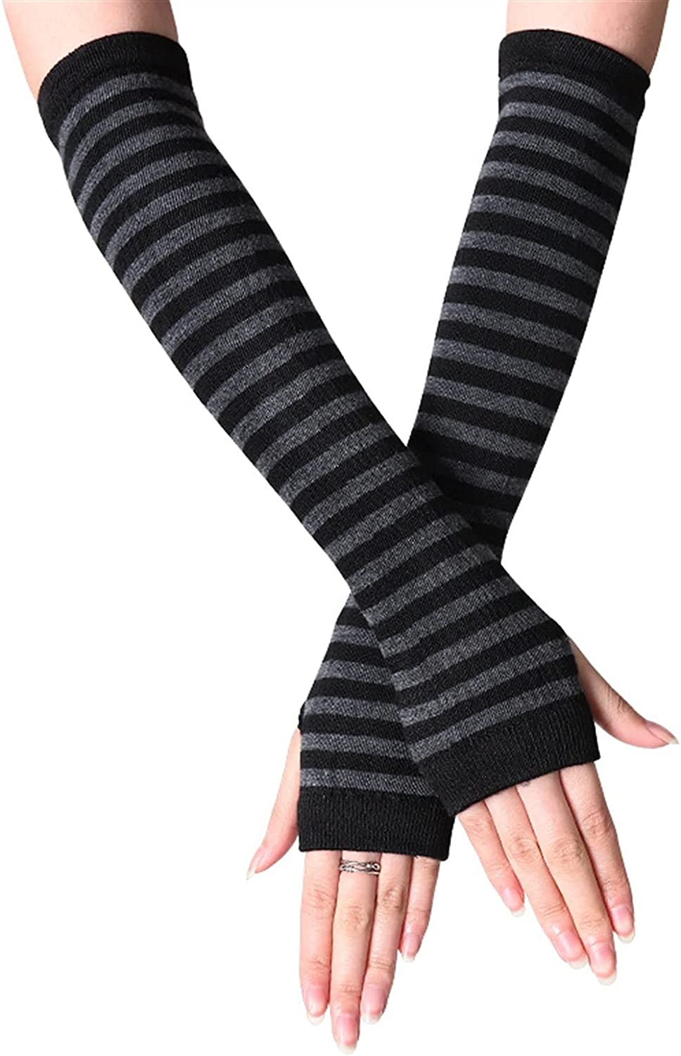 LUBINGT Winter Gloves Autumn and Winter Women Anime Black White Striped Elbow Gloves Warmer Knitted Long Fingerless Arm Gloves Mittens (Color : C, Gloves Size : 32x8cm)
