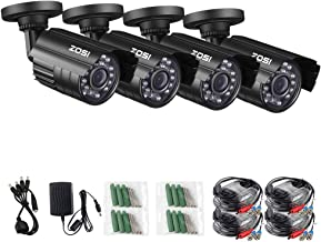 ZOSI 1080P 4 Pack HD-TVI Security Bullet Cameras Outdoor Indoor Weatherproof with 24pcs IR LEDs 65ft Night Vision for 2.0MP Surveillance TVI CCTV System