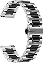 TRUMiRR for Samsung Galaxy Watch 46mm Watchband, 22mm Ceramic Stainless Steel Watch Band Quick Release Strap Replacement Bracelet Wristband for Gear S3 Classic/Frontier, Gear 2 Neo Live, Black Silver