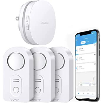 Govee WiFi Water Sensor, Smart App Leak and Drip Alert, Wireless Water Alarm with Email, Loud Alarm and App Alerts - Easy to Install Remote Waterproof Leak Sensor for Home, Basement - 3 Pack