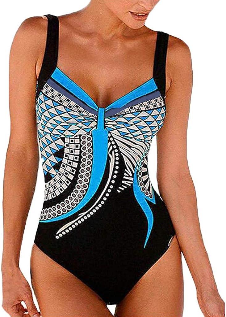 DIOMOR Womens Summer One Piece Retro Print Backless Swimwear Monokini Strappy Tankini Bathing Suit Swimsuit Bikini Set