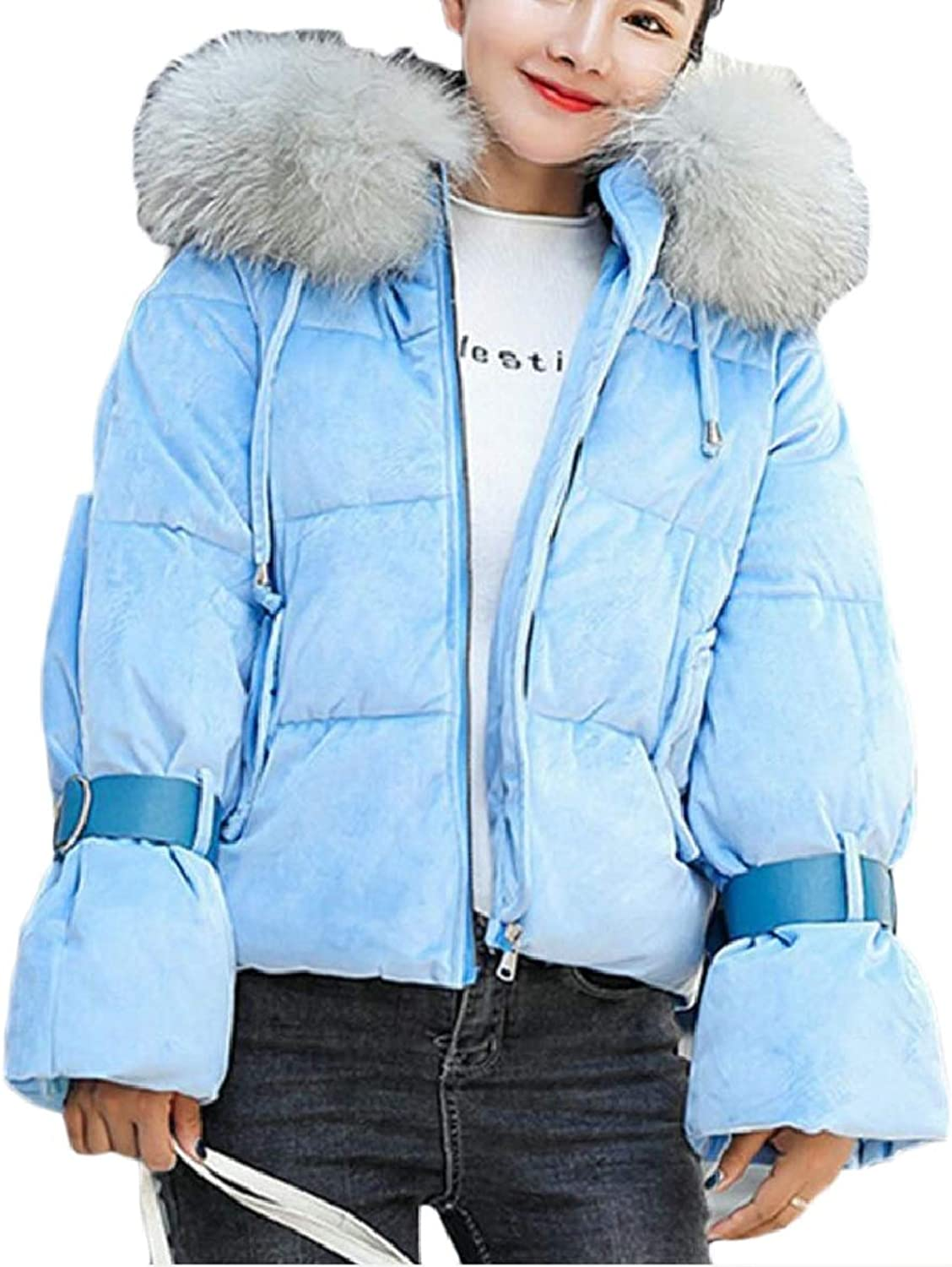 Xswsy XGCA Womens Velvet Hooded Faux Fur Coat Padded Quilted Down Pufer Short Jacket
