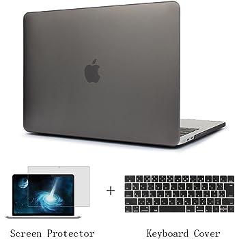 TwoL 15インチ MacBook Pro 2016/2017/2018/2019 用スナップ式 排熱口デザイン PCハードケースシェルカバー New MacBook Pro 15 Touch Bar A1707/A1990 JIS配列キーボードカバー スクリーン保護フィルム (つや消し グレー)