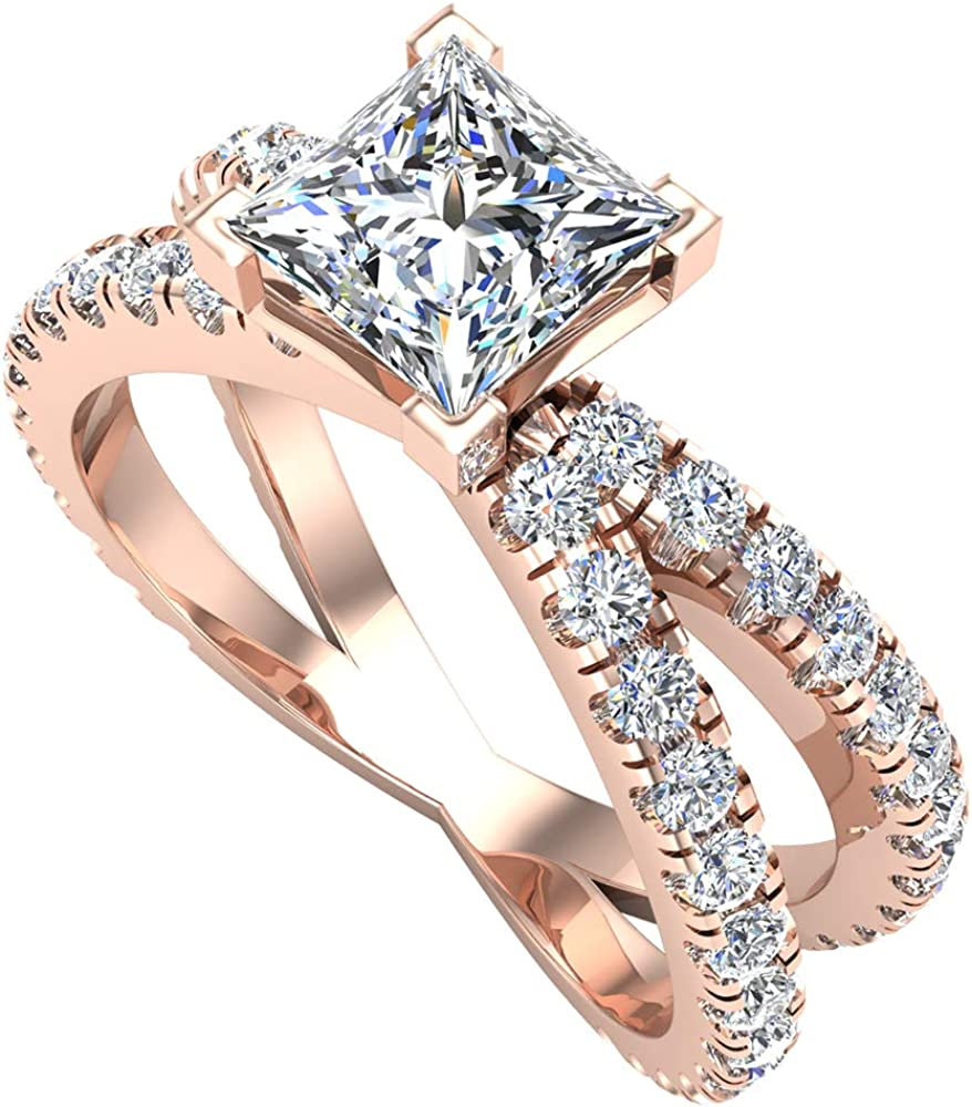 Princess ! Super beauty product restock quality top! cut 100% quality warranty Diamond engagement rings Shank Split style 18K Gold