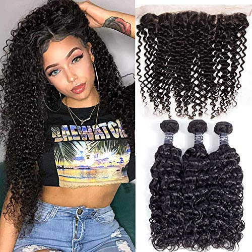 "Amella Hair Brazilian Curly Remy Hair 3 Bundles and Frontal Closure Free Part 100% Human Hair Weave with Swiss Lace Frontal for Sew in Natural Color (18 20 22+18"" Frontal)"