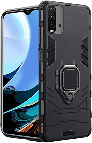 Thegiftkart Tough Armor Bumper Back Case Cover For Mi Redmi 9 Power Ring Holder Kickstand In Built Excellent 360 Degree Protection Carbon Black