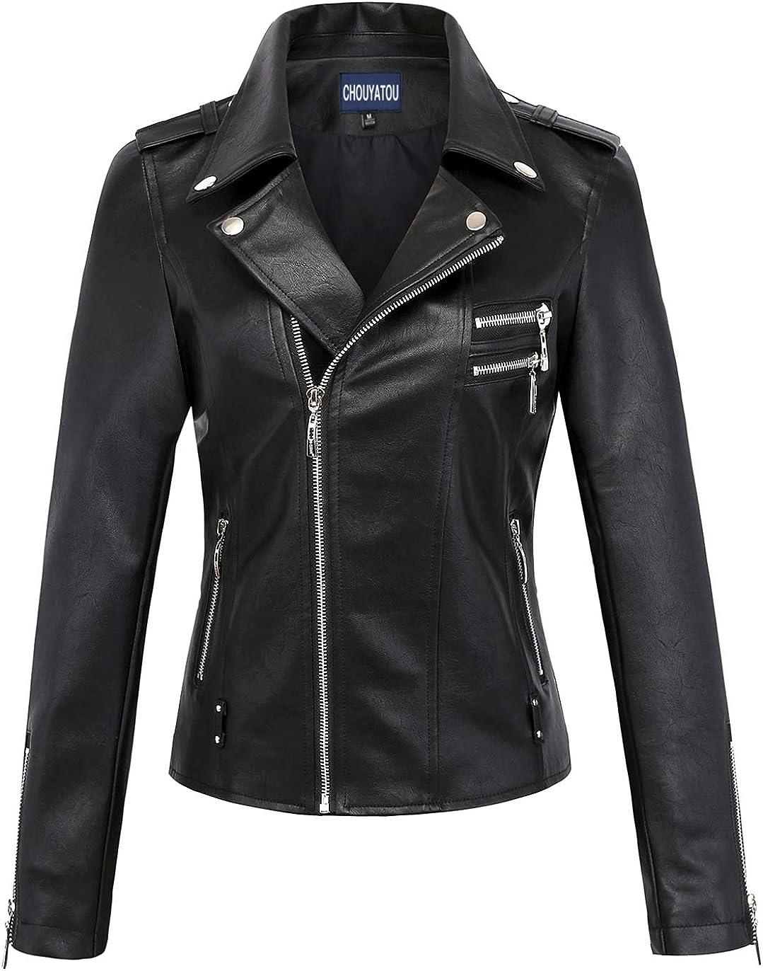 chouyatou Women's Classic Assymetric Zip Slim Punk Stylish Faux Leather Moto Jacket