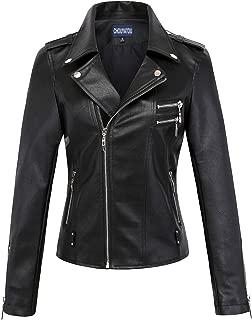 Women's Classic Assymetric Zip Slim Punk Stylish Faux Leather Moto Jacket