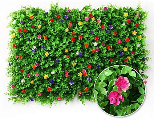 Valla de planta artificial, pantalla de valla de privacidad, con flores, utilizada para protección UV en interiores y exteriores, pared de césped, fondo verde 40 * 60 CM