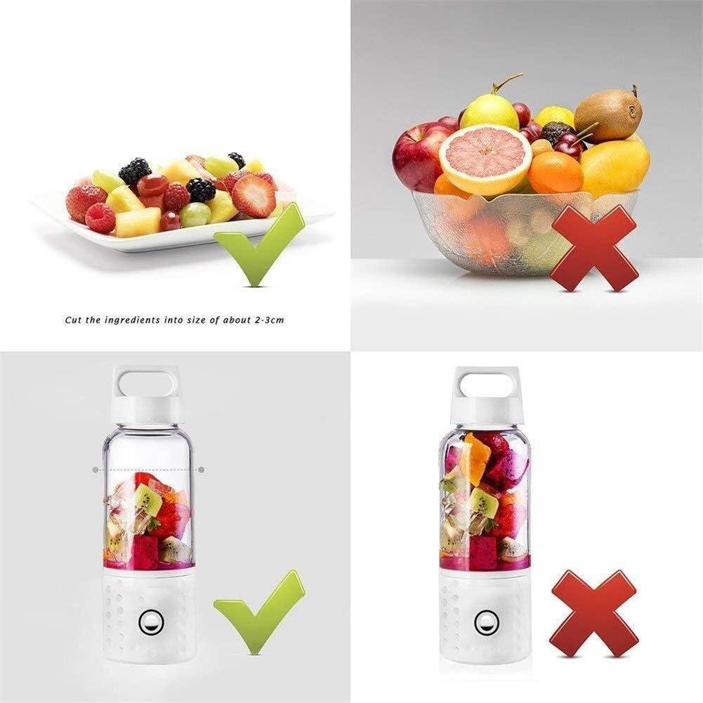 YJXD Blender portátil, Copa Exprimidor Licuadora Smoothie USB, 17 oz de Mezcla de Frutas de la máquina con baterías Recargables de 4000mAh (Color : Pink) White