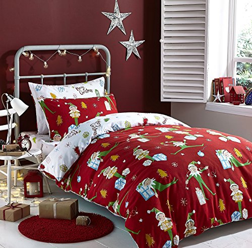 Catherine Lansfield Brush Cotton Elfie Double Bed in a Bag Red