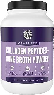 Collagen Bone Broth Powder 2lb   Grass Fed Bone Broth with Collagen Peptides - Unflavoured - Grass Fed, Hydrolyzed Beef, Z...