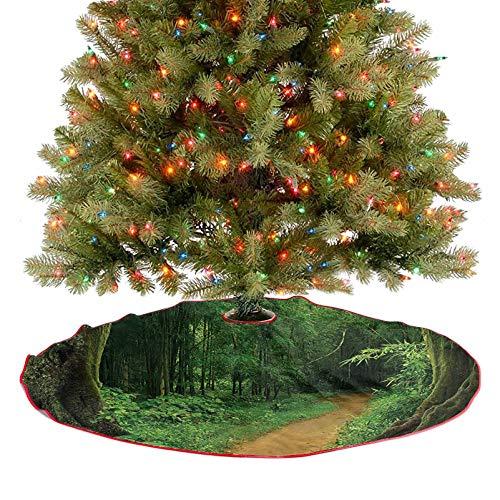 Adorise Falda de árbol de Navidad con borla, selva tropical con árboles, camino, follaje, naturaleza, paisaje, Navidad, decoración de vacaciones, impresionante y elegante aspecto – 48 pulgadas