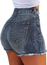 RISTHY Pantalones Cortos Mujer Básicos Gimnasio Pantalones Cortos Mujer Verano Vaqueros Cintura Alta Short Yoga Pantalones Calientes High Waist Tejanos
