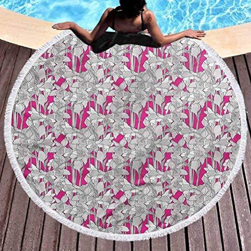 AEMAPE Toalla de Playa Premium Toalla de Playa Redonda Estampada Floral Pétalos de Hojas de Flores Retro Manta de Playa