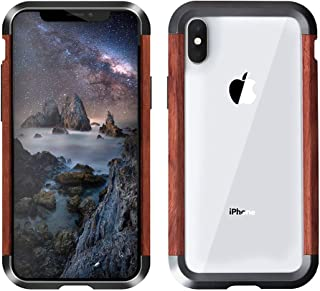 Bpowe iPhone Xs Cases Bumper,Hard Slim Wood Metal Case Shock Resistant Wooden Bumper Frame Protective Cover Compatible for iPhone X/iPhone Xs (iPhone Xs 5.8inch)