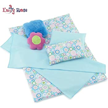 Fits American Girl Doll Quilt 4 Piece 18 inch Doll Bedding Set