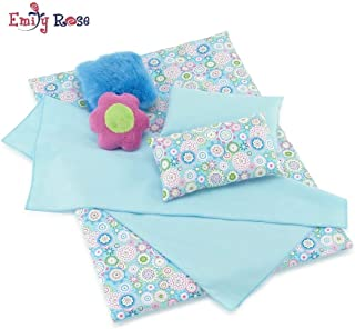 Emily Rose 18 Inch Doll Accessories | 6 Piece Reversible Doll Bedding Set with Plush Comforter, 4 Pillows and Sheet | Fits American Girl Dolls