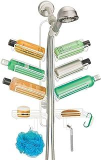 mDesign étagère de douche à suspendre – serviteur de douche pratique en métal à fixer sans percer – paniers et crochets po...