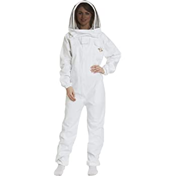 Natural Apiary – Apiarist Beekeeping Suit - (All-in-One) - Fencing Veil - Total Protection for Professional and Beginner Beekeepers – X Large - White