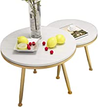Living Room Furniture Metal Modern Simplistic Full Solid Wood Nesting Coffee Table   Stainless Steel Metal Frame   Round L...
