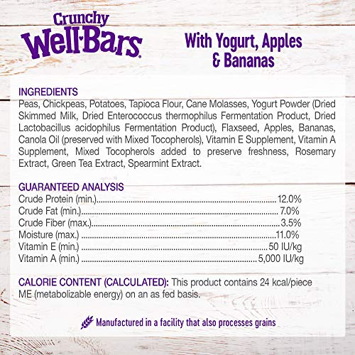 Wellness Natural Grain Free Wellbars Crunchy Dog Treats, Yogurt, Apples & Bananas Recipe, 45-Ounce Bag
