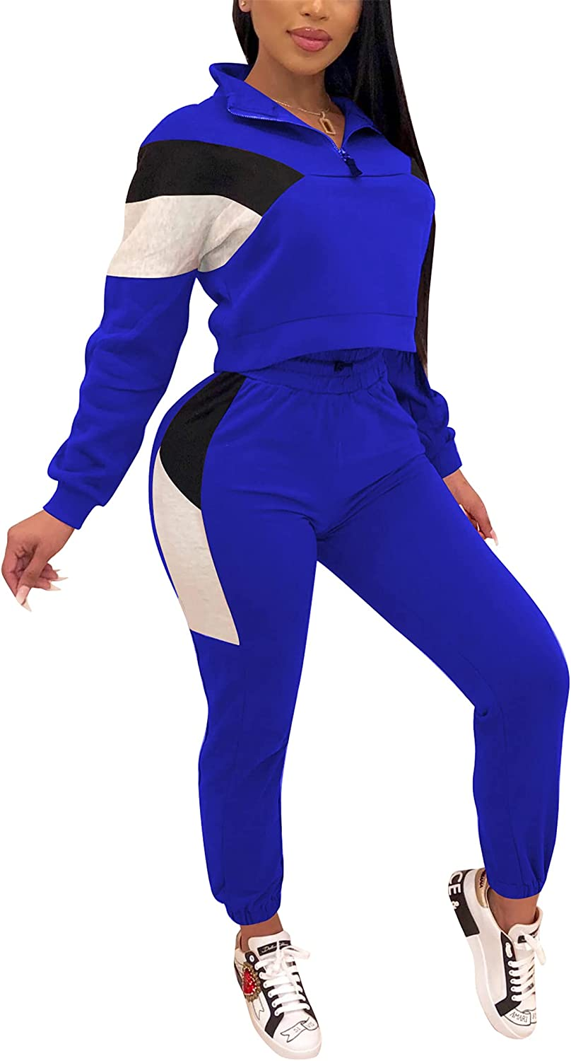 Women's 2 Piece Workout Sets Sexy Zip Up Splice Sweatshirts Bodycon Long Pants Jogger Tracksuit Outfits