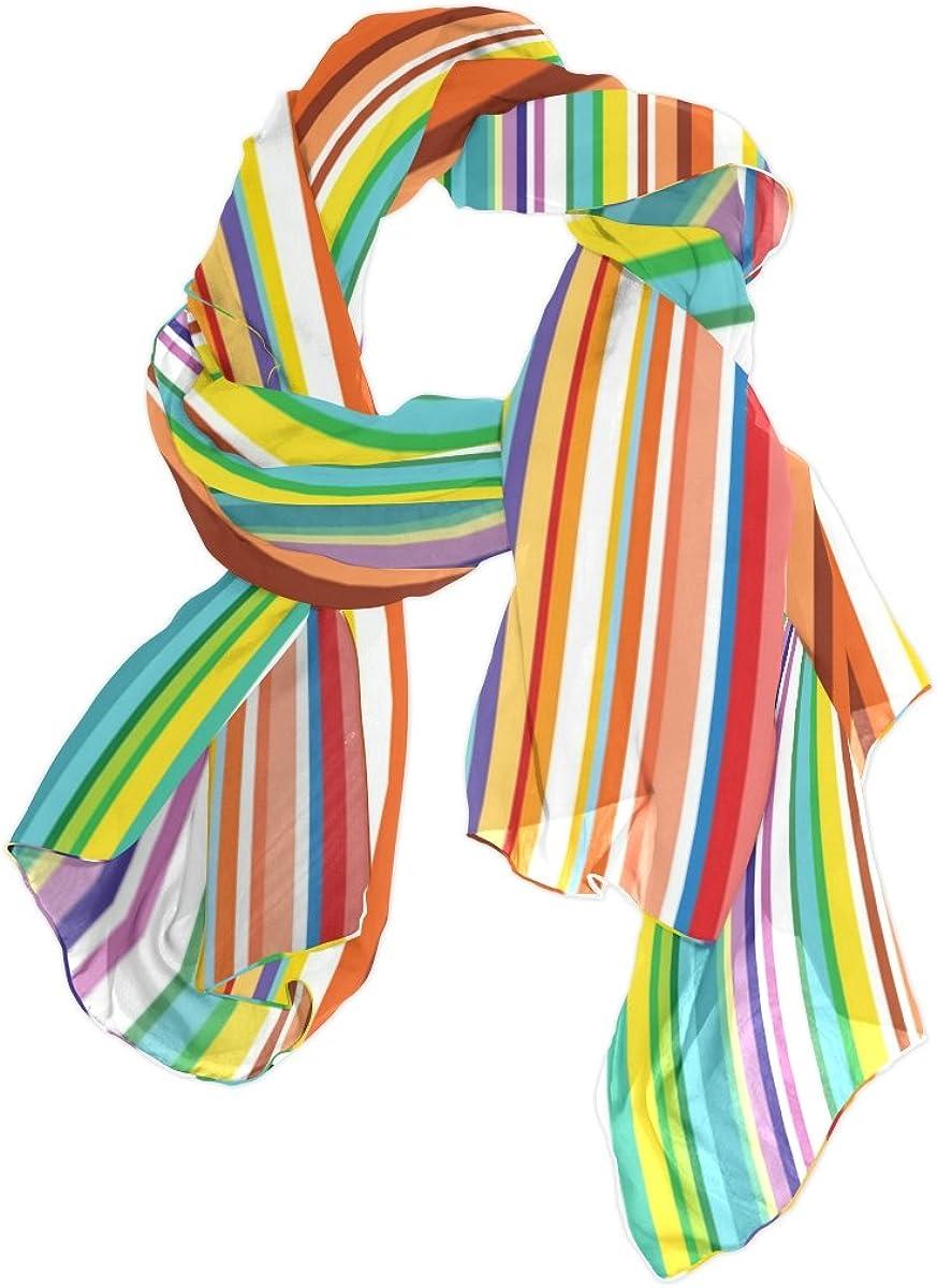 U LIFE Vintage Rainbow Striped Stripes Silk Scarf Scarves for Women
