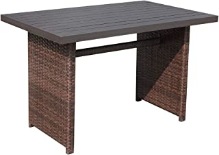 Patiorama Outdoor Dining Table, Brown Wicker Rectangular Coffe Table with Aluminum Table Top, Steel Frame