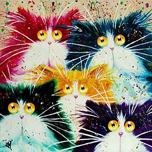 Zhxx Acryl Schilderen door cijfers Kit Verjaardag Vijf Abstracte Katten Dierlijke DIY Digitale Moderne Muur Kunst Schilderen Unieke Op Canvas Gift 16X20 Inch Zonder frame