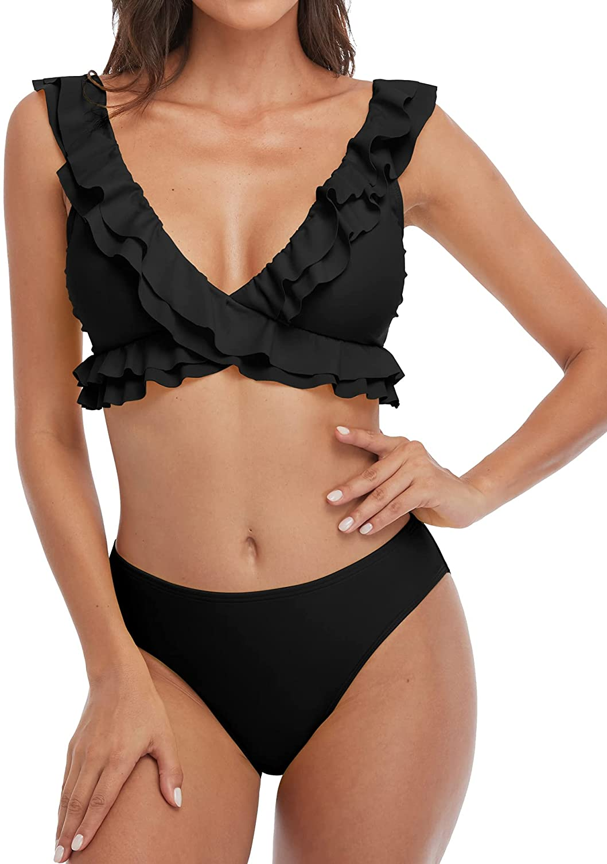 Charmo Ruffle Bikini for Women Flounce Strap V Neck Mid Rise Two Piece Cute Swimsuits