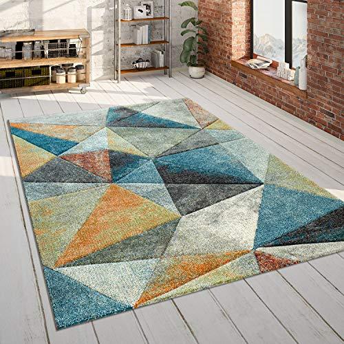 Alfombra Salón Azul Naranja Colorida Triángulos Efecto 3D Robusta Pelo Corto, tamaño:200x290...