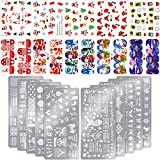 20 Sheets Christmas Nail Decals Stickers Water Transfer Tips Adhesive Full Wrap Nail Art Stamp Plates Templates Santa Snowman Snowflake Pattern For Nail DIY Decoration