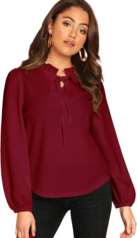 SheIn Women's Long Sleeve Front Bow Tie Ruffle Collar Elegant Blouse Shirt Tops