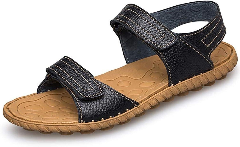 Oudan Men's Summer Flip Flops Casual Leather Sandals (color   Black, Size   46)
